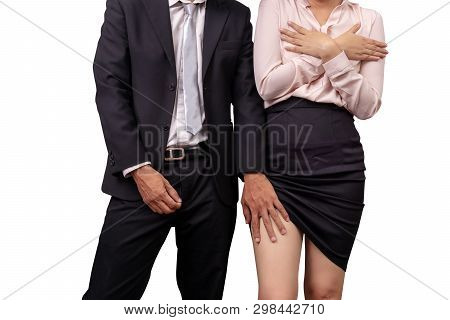 Sexual Abuse And Violence Against Women At Work. Male Manager Zippers Pants And Molesting Female Emp