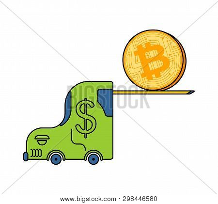 Bitcoin Price Rising. Btc Fork Loader Uplift. Cryptocurrency Price Increase. Business Concept In Cry