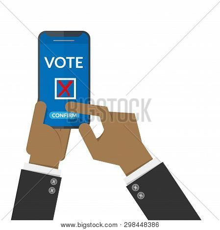 Voting Online Concept. Black People Hand Press Confirm Button For Vote Via Mobile Smart Phone. Elect