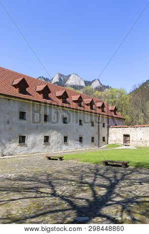 14th Century Red Monastery, Courtyard Surrounding Wall And View On Three Crowns Massif, Slovakia