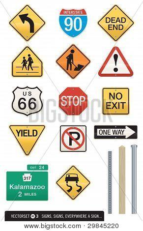 Set of 14 Highway Sign Vectors
