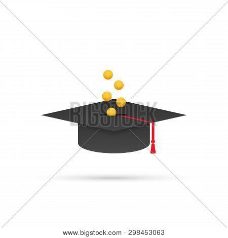 Investment In Education. Scholarship. Books. Graduate Cap On Stack Golden Coin. Vector Stock Illustr