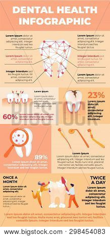 Banner Dental Health Poster Infographics Cartoon. Man And Woman Brush Their White Tooth With Toothbr