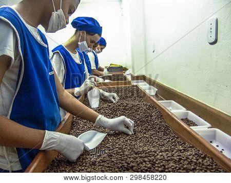 Mococa, Sp, Brasil. 01/04/2005. Coffee Roaster Production Line Of The Pessegueiro Farm In Mococa