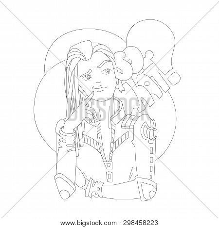 Coloring Page Illustration, Vector Outline Girl With Lettering So What - Independent Emotional Girl