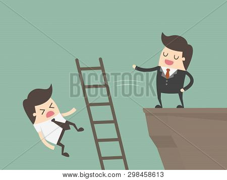 Ruthless Businessman Pushing Down Competitors. Business Concept Illustration.