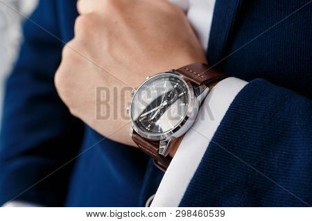Businessman Looking At His Watch On His Hand, Watching The Time Closeup Watch On Hand Businessman, H