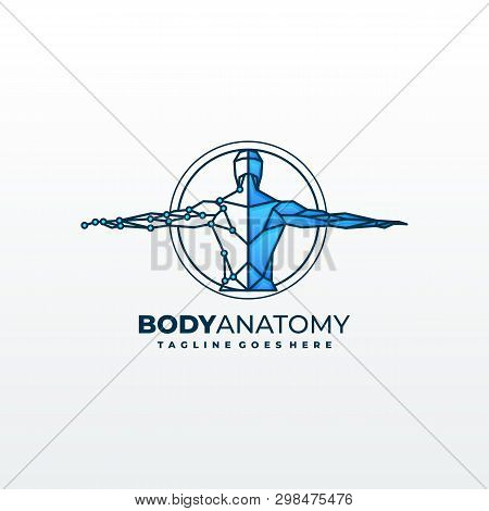 Medical Diagnostics Symbol Or Logo. Medicine And Anatomy, Backbone And Scoliosis, Analysis And Resea