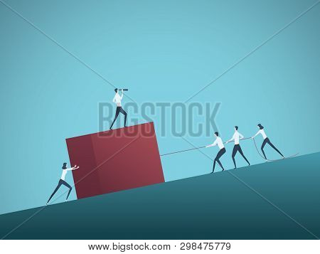 Business Teamwork And Leader Vector Concept With Businessmen And Women Pulling Cube Uphill. Symbol O