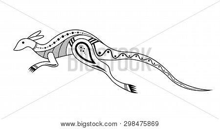 Kangaroo. Aboriginal Art Style. Tatoo. Black And White Logo. Vector Monochrome Illustration Isolated