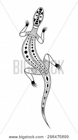 Lizard. Aboriginal Art Style. Tatoo. Black And White Logo. Vector Monochrome Illustration Isolated O