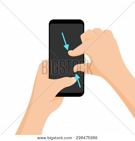 Vector Multi-touch Gesture For Tablets And Smartphone. Pinch To Zoom.