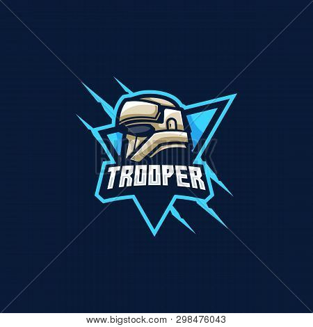 Storm Trooper Mascot, Logo Design. Skull Logo,games Illustration Vector Template