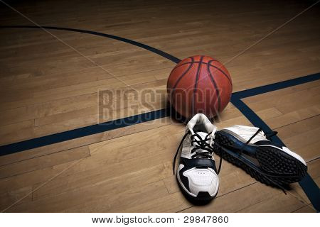 Basketball Court with ball and shoes