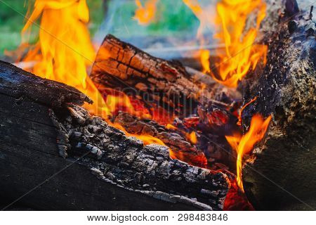 Smoldered Logs Burned In Vivid Fire Close Up. Atmospheric Background With Orange Flame Of Campfire.