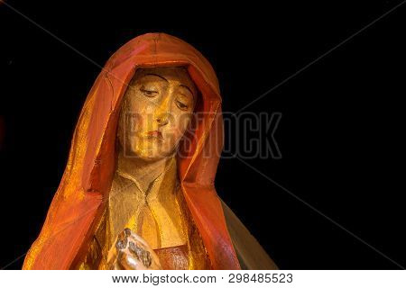 A Medieval Sculpture Of Virgin Mary With Grief In Her Face, The Grieving Madonna  Thirsted, Denmark,