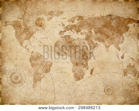 Ancient vintage world map illustration