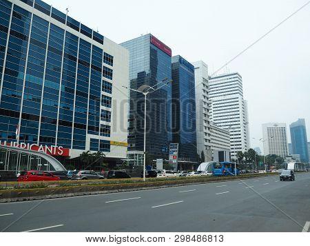 Jakarta, Indonesia - April 7, 2019: Cityscape Of Thamrin Street.