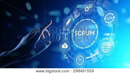 Scrum, Agile Development Methodology, Programming And Application Design Technology Concept On Virtu