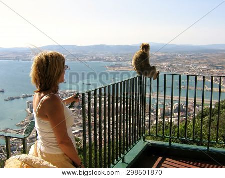 Gibraltar, The Rock,- Circa 2006 - Tourist Interacts With One Of Gibraltars, Famous Apes.