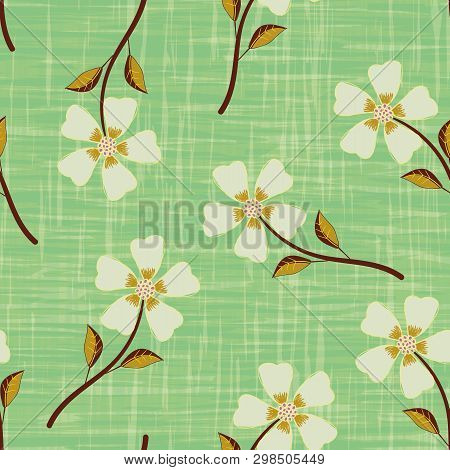 Pastel Yellow Hand Drawn Flowers On Watercolour Effect Etched Green Background. Seamless Vector Patt