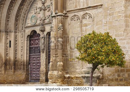 Gothic Gate Arch Of San Pablo Church In Ubeda. Spain