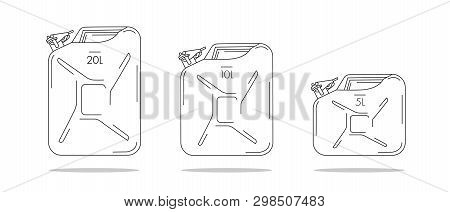 Oil Canisters Illustrations, Linear Graphic With Litre Capacity
