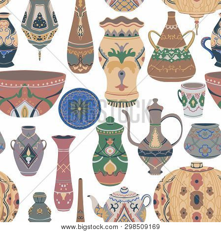 Seamless Pattern With Traditional Arabic Utensils Collection. Oriental Dishes, Pots, Lantern, Bowl,