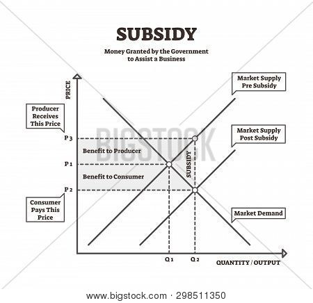 Subsidy Vector Illustration. Bw Explanation Government Financial Aid Graph. National Money Help To S