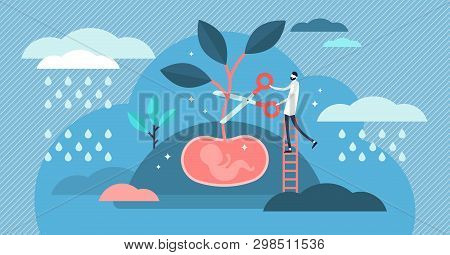 Abortion Vector Illustration. Flat Tiny Stop Baby Pregnancy Persons Concept. Mothers Choice To Cance