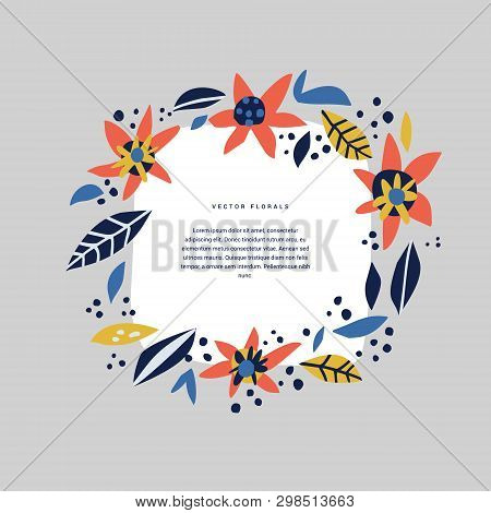 Botanical Text Circle Hand Drawn Vector Template. Decorative Round Frame With Bloom, Blossom. Wreath