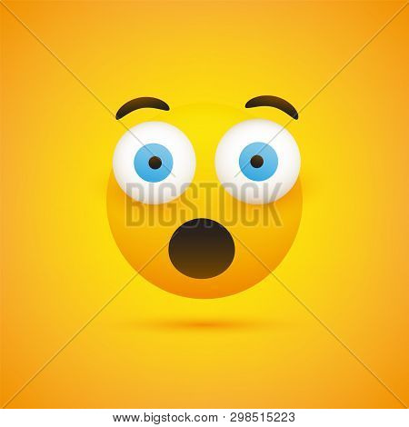 Surprised Face Emoji With Pop Out Eyes - Simple Emoticon On Yellow Background - Vector Design Illust