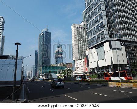 Jakarta, Indonesia - April 17, 2019: Cityscape Of Thamrin Street.