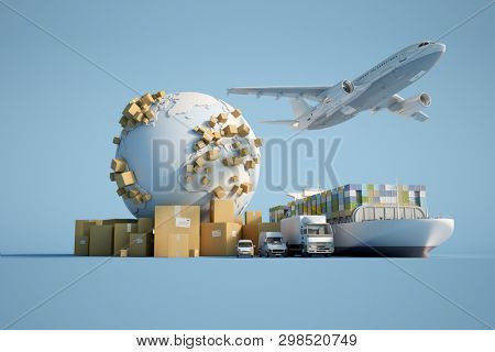 3D  rendering of the Earth surrounded by cardboard boxes, a cargo container ship, a flying plan, a car, a van and a truck