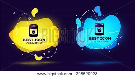 Black Canned Food For Dog Icon Isolated On Blue Background. Food For Animals. Pet Dog Food Can. Set