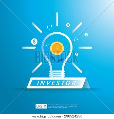 Financial Business Investor Funding Concept With Grow Money Coin Plant On Idea Light Illustration. R