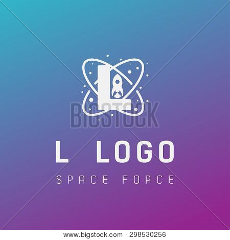 L Initial Space Force Logo Design Galaxy Rocket Vector In Gradient Background