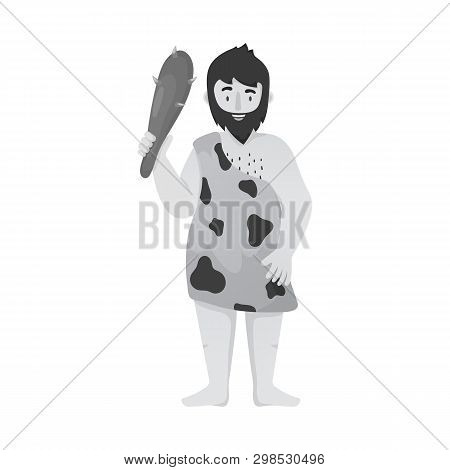 Vector Illustration Of Neanderthal And Man Sign. Set Of Neanderthal And Prehistoric Vector Icon For