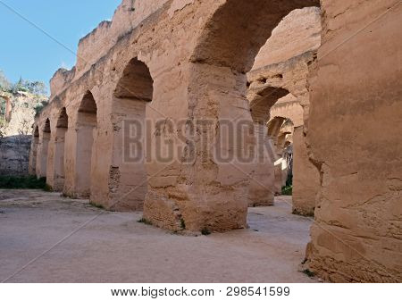 Interior of the old granary and stable of the Heri es-Souani in Meknes, Morocco. poster