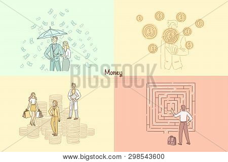 Financier, banker, financial consulting, assistance, trading and commerce profit banner template. Banking system, monetization, business advisor concept cartoon sketch. Flat vector illustration poster