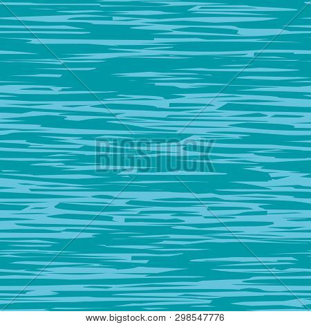 Abstract Blue And Teal Painterly Water Surface Effect Texture. Vector Seamless Grid Pattern With Hor