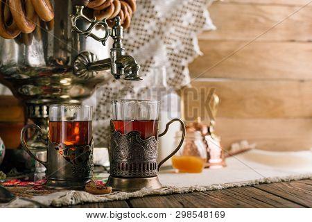 Russian Traditional Tea, Samovar, Cup Holders, Donut