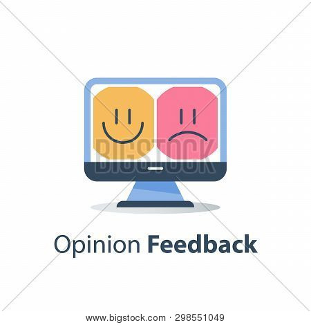 Online Review, Good Or Bad Emotion Customer On Monitor, Service Quality Evaluation, Happy Or Unhappy