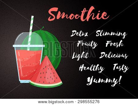 Red Natural Smoothie Fruit Shake Vector Illustration. Fresh Vegetarian Smoothies Drink With Red Laye