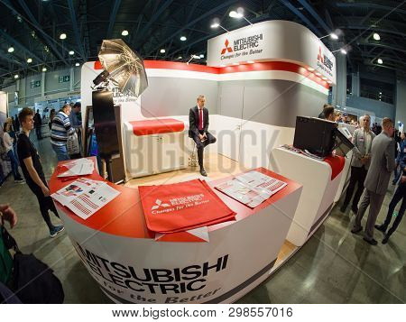 Moscow, Russia - April 11, 2019: Booth Of Mitsubishi Electric Company At Photoforum 2019 Trade Show