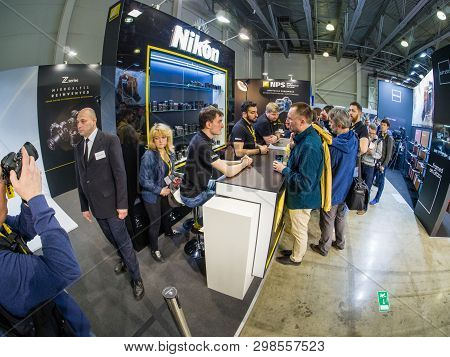 Moscow, Russia - April 11, 2019: Booth Of Nikon Company At Photoforum 2019 Trade Show And Exhibition