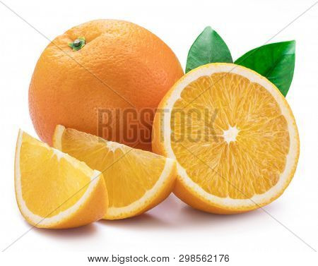 Orange fruit with orange slices and leaves isolated on white background.