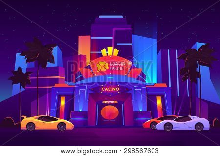 Modern resort metropolis luxury casino building exterior with bright neon illumination, clover leaf logo above door, expensive sport cars on parking in front of entrance cartoon vector illustration poster
