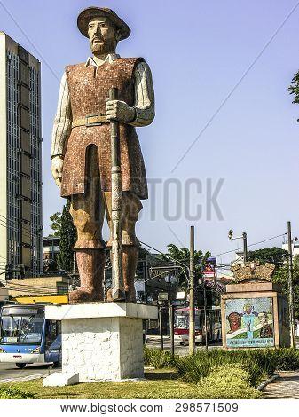 Sao Paulo, Brazil, February 18, 2007: Statue Of Bandeirante Borba Gato, In The Santo Amaro Neighborh