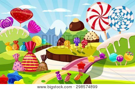 Sweet Candy World Fairy Landscape, Panorama. Sweets, Candies, Caramel. Cartoon Game Background. Vect